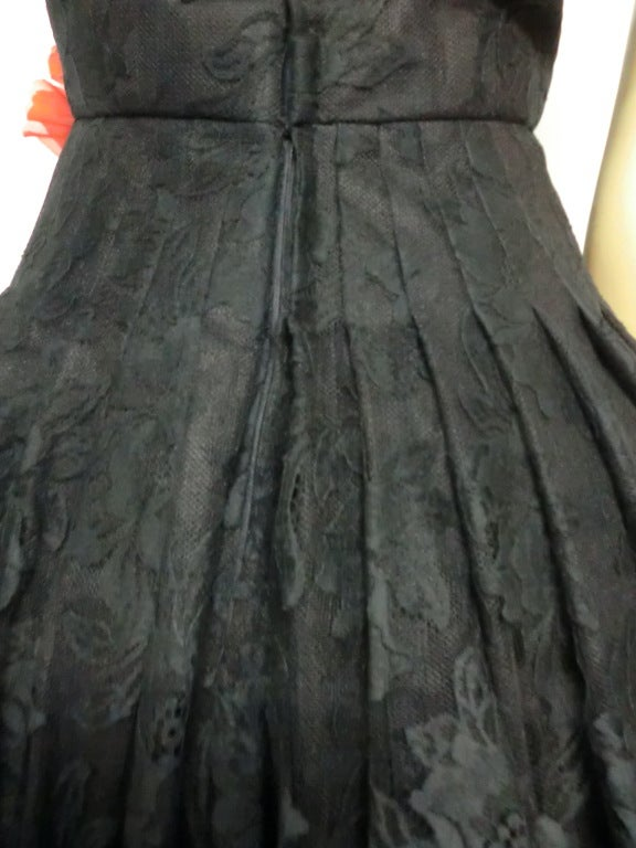50s Arnold Scaasi Silk Lace Party Dress w/ Full Skirt 5
