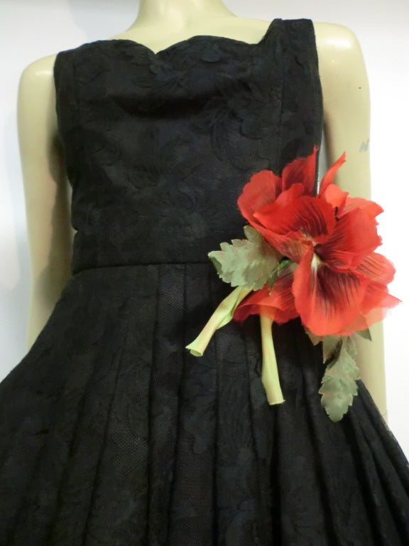 50s Arnold Scaasi Silk Lace Party Dress w/ Full Skirt 6