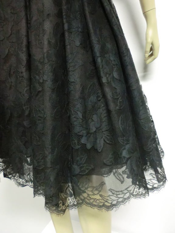 50s Arnold Scaasi Silk Lace Party Dress w/ Full Skirt 7