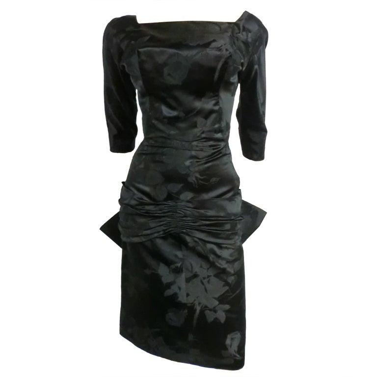 50s Silk Jacquard Cocktail Dress w/ Swallowtail Bow -