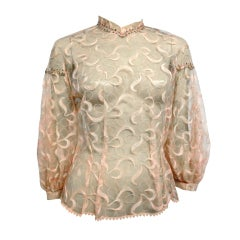 50s Embroidered Pink Tulle Blouse w/ Balloon Sleeve and Stones