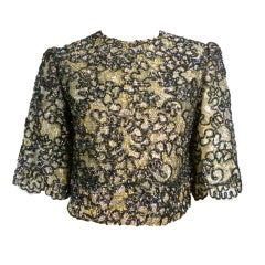 60s Metallic Chenille Embroidered Lace Evening Blouse