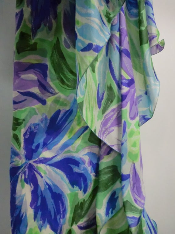 70s Silk Organza Gown w/ Flutter Capelet For Sale 1