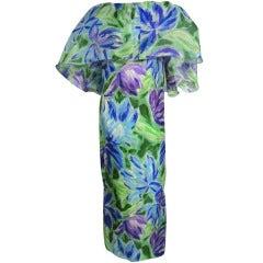 70s Silk Organza Gown w/ Flutter Capelet