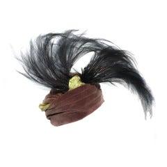 Gorgeous Caroline Reboux French 1930s Bird of Paradise Turban