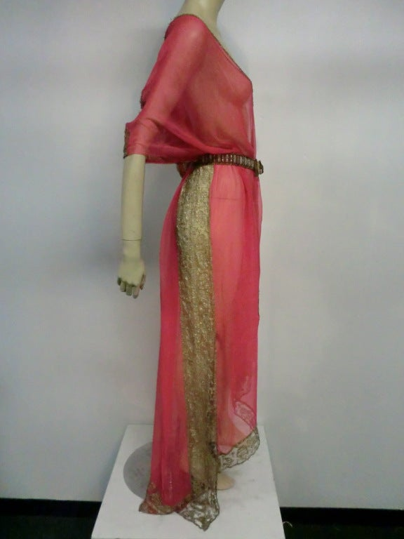 1920s Silk Chiffon and Metal Lace Robe Deshabille 3