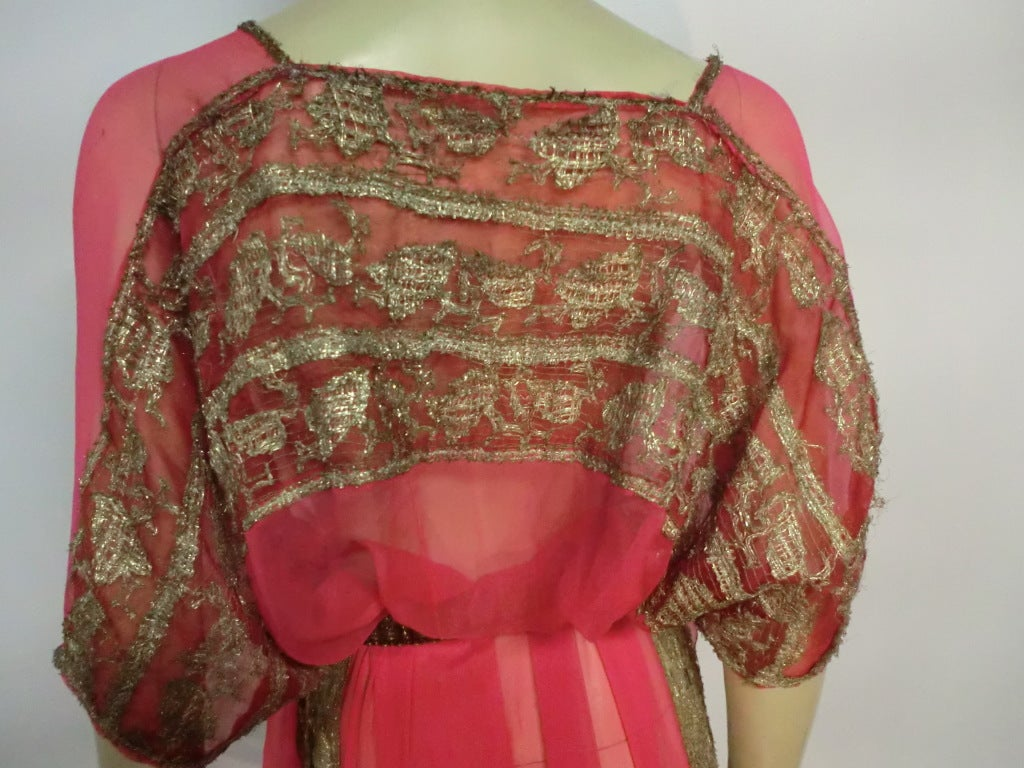 1920s Silk Chiffon and Metal Lace Robe Deshabille 5