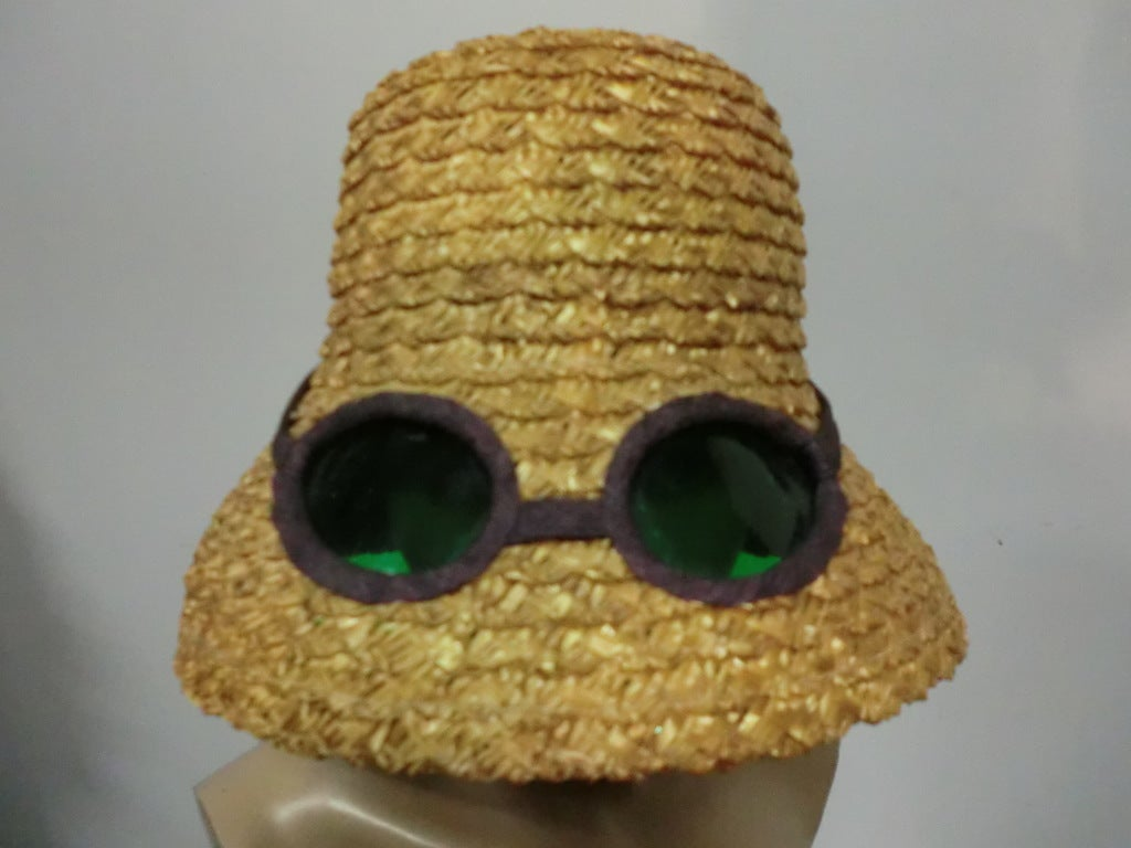 "50s Novelty Straw Beach Hat w/ Built In ""Sunglasses"" 3"