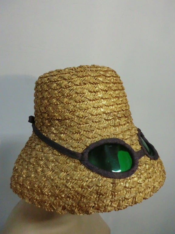 "50s Novelty Straw Beach Hat w/ Built In ""Sunglasses"" 4"
