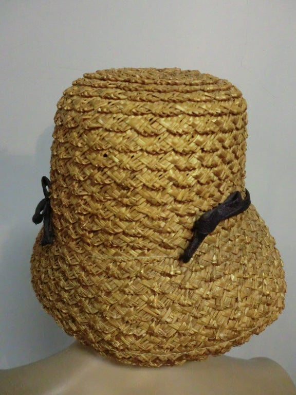 "50s Novelty Straw Beach Hat w/ Built In ""Sunglasses"" 5"