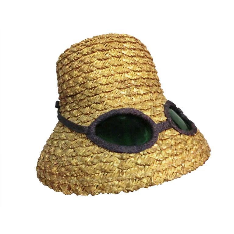 "50s Novelty Straw Beach Hat w/ Built In ""Sunglasses"" 1"