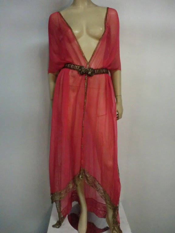 1920s Silk Chiffon and Metal Lace Robe Deshabille 2