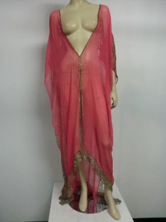 1920s Silk Chiffon and Metal Lace Robe Deshabille 6