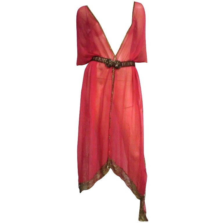 1920s Silk Chiffon and Metal Lace Robe Deshabille 1