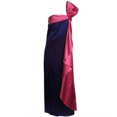 70s Royal Purple and Fuchsia Silk Satin Strapless Gown w/ Bow