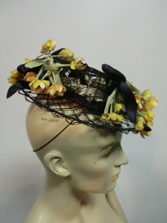 40s Tilt Hat in Navy Wire and Netting w/ Yellow Ranunculus 2