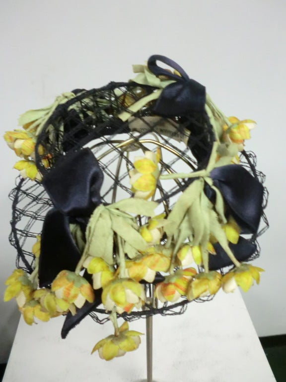 40s Tilt Hat in Navy Wire and Netting w/ Yellow Ranunculus 3