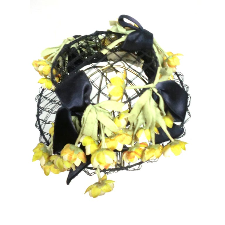 40s Tilt Hat in Navy Wire and Netting w/ Yellow Ranunculus 1