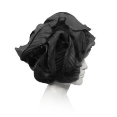 60s Mr. John Silk Tulle and Cabbage Leaf Turban