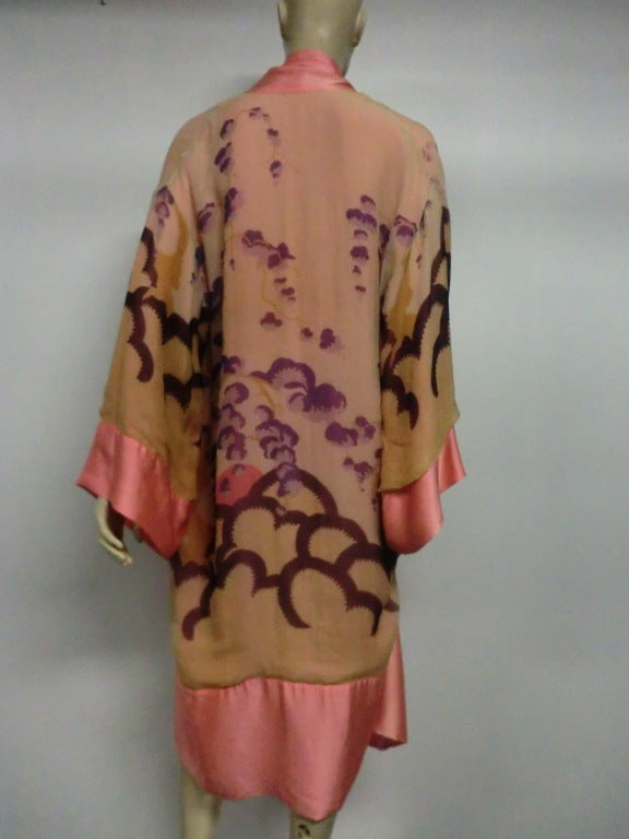 20s painted silk deco style robe reversible at 1stdibs