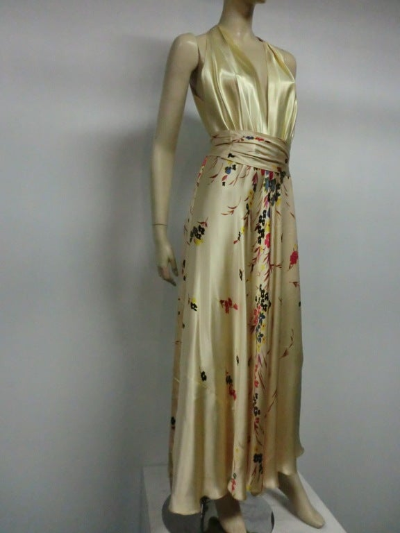 30s Silk Satin Bias Gown w/ Scattered Florals and Low Neck 2