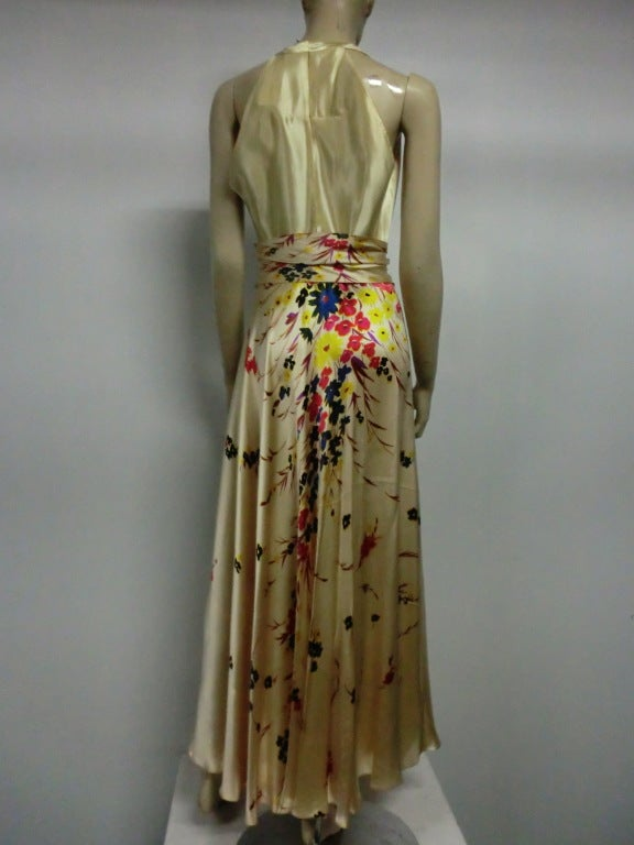 30s Silk Satin Bias Gown w/ Scattered Florals and Low Neck 3