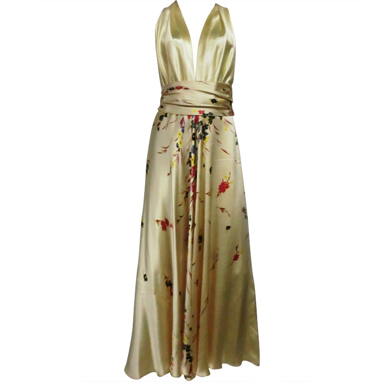 30s Silk Satin Bias Gown w/ Scattered Florals and Low Neck 1