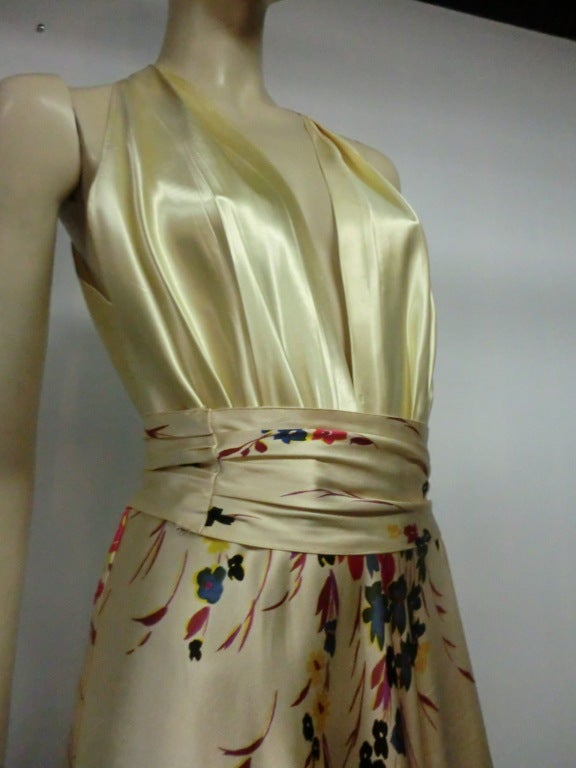 30s Silk Satin Bias Gown w/ Scattered Florals and Low Neck 6