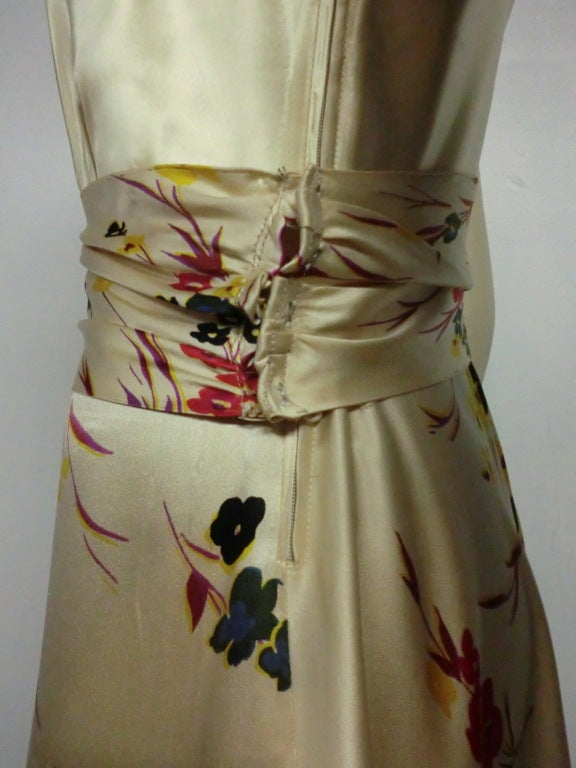 30s Silk Satin Bias Gown w/ Scattered Florals and Low Neck 7