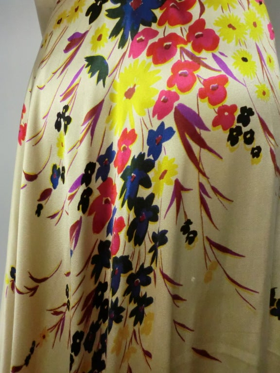 30s Silk Satin Bias Gown w/ Scattered Florals and Low Neck 8