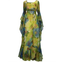 60s Chiffon Floral Print Gown with Dramatic Sleeves