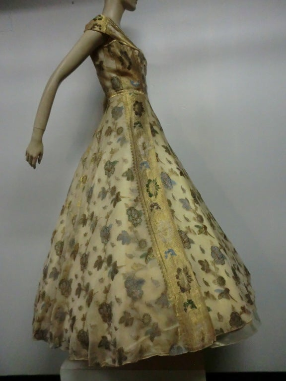 Brown 50s One-Shoulder Gown - Incredible Gold Brocade Sari Fabric For Sale