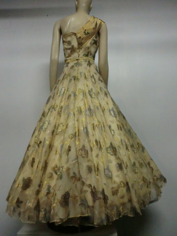 Women's 50s One-Shoulder Gown - Incredible Gold Brocade Sari Fabric For Sale