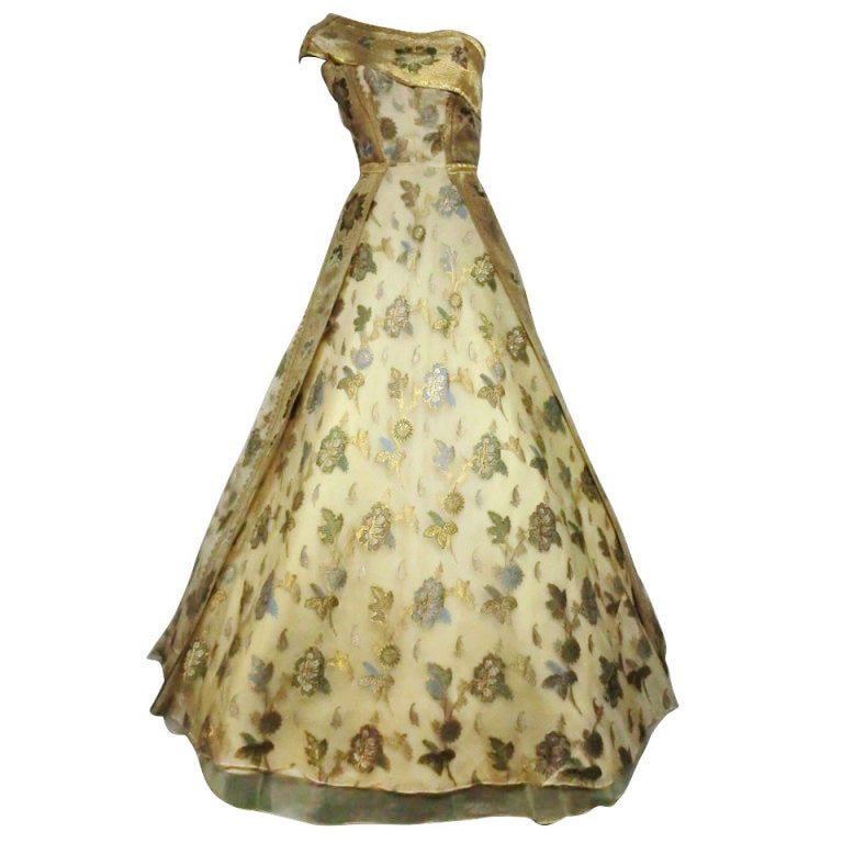 50s One-Shoulder Gown - Incredible Gold Brocade Sari Fabric For Sale