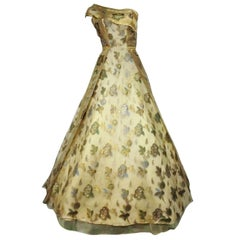 50s One-Shoulder Gown - Incredible Gold Brocade Sari Fabric