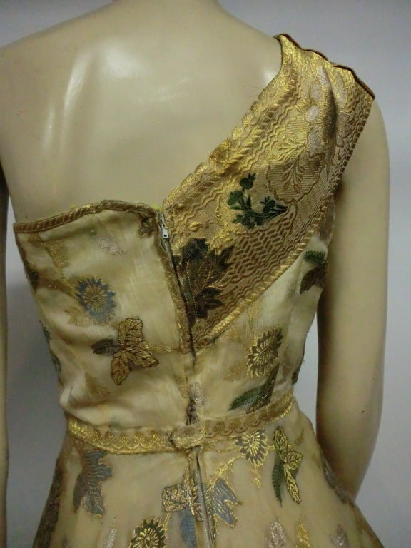 50s One-Shoulder Gown - Incredible Gold Brocade Sari Fabric For Sale 1