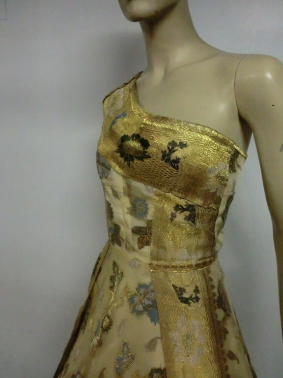 50s One-Shoulder Gown - Incredible Gold Brocade Sari Fabric For Sale 2