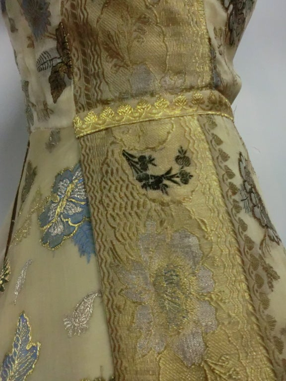 50s One-Shoulder Gown - Incredible Gold Brocade Sari Fabric For Sale 3