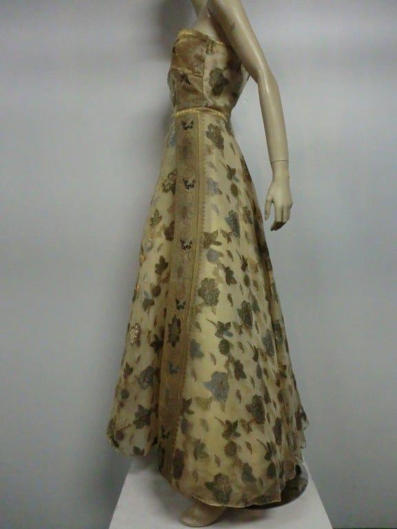 50s One-Shoulder Gown - Incredible Gold Brocade Sari Fabric For Sale 4