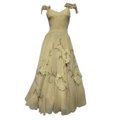 30s Katherine Kuhn Couture Beaded Silk Chiffon and Lace Gown