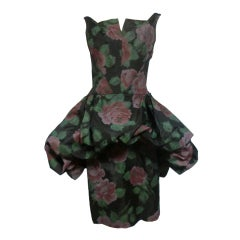 50s Bubble Peplum Floral Print Party Dress