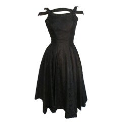 50s Suzy Perette Bandeau Shoulder Lace Party Dress