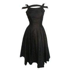 50s Suzy Perette Bandeau Shoulder Lace Party Dress