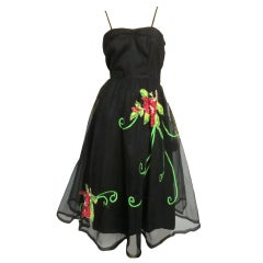 50s Emma Domb Floral Applique Party Dress