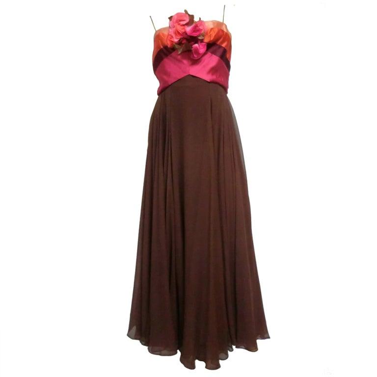 60s Helena Barbieri Silk Chiffon Gown with Bouquet Bodice