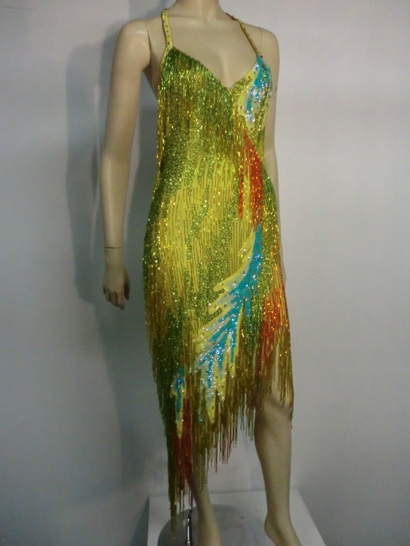 70s Bob Mackie Bead Fringe Silk Dancing Dress w/ Low Racer Back 2