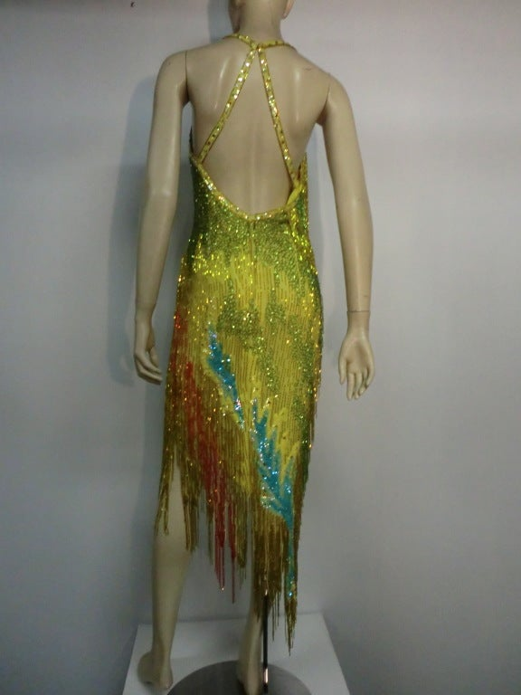 70s Bob Mackie Bead Fringe Silk Dancing Dress w/ Low Racer Back 3