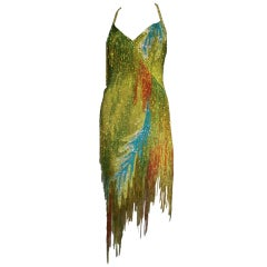 70s Bob Mackie Bead Fringe Silk Dancing Dress w/ Low Racer Back