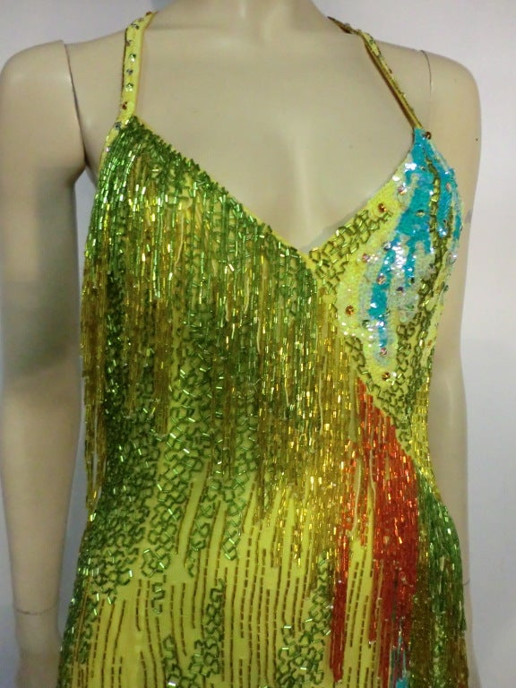 70s Bob Mackie Bead Fringe Silk Dancing Dress w/ Low Racer Back 4