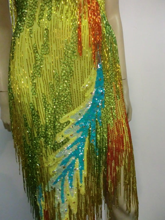 70s Bob Mackie Bead Fringe Silk Dancing Dress w/ Low Racer Back 5